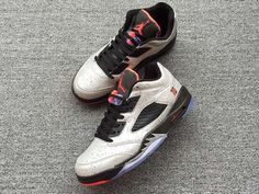 25205cb13cf Air Jordan 5 Retro V Low White Black Red Men And Women Basketball Shoes AAA,