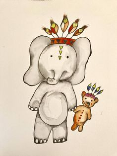 Hand painted Elephant with best buddy Teddy perfect for a nursery or childrens bedroom  dimensions 29 cm x 39 cm  Water colour on Saunders Waterford Watercolour paper, Acid free 300gsm Colours may vary slightly due to different computer monitors. This purchase is for personal use only. Please message us for wholesale enquires. All prints are packaged flat for postage with rigid cardboard to avoid damage during shipping.  Please note: Framing is not included so all prints will require framing…