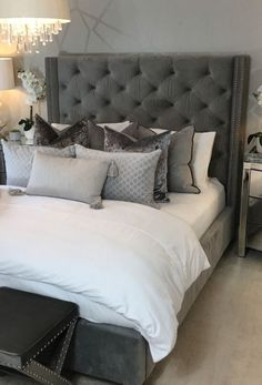 Grey Bedroom Design, Grey Bedroom Decor, Master Bedroom Interior, Room Ideas Bedroom, Classy Bedroom Ideas, Dream Rooms, Luxurious Bedrooms, Beautiful Bedrooms, Cotton Bedding