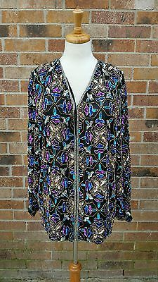 pure silk sequins and beads dress blouse plus size 2x 3x evening