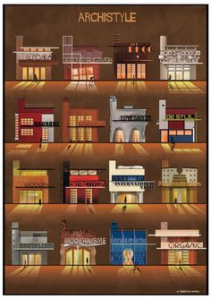 federico babina chronicles architectural styles of the last century is part of architecture - federico babina forms a chronological summary of some of the major architectural movements, expressed thorough simple graphic gestures Architectural Styles, Small Windows, Style Guides, Architecture Design, Architecture Posters, Architecture Blueprints, Facade, Art Deco, Art Nouveau