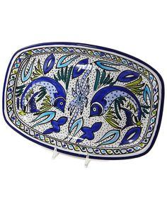 """Spotted this Le Souk Ceramique Hand-Painted """"Aqua Fish"""" 4in Platter on Rue La La. Shop (quickly!)."""