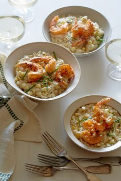 Sweet Corn Risotto with Cajun shrimp