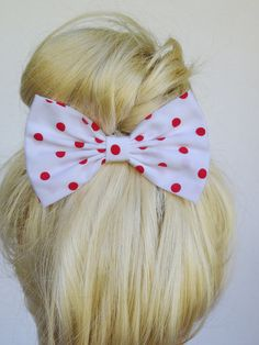 Polka+Dot+Hair+Clip+For+Women++Polka+dot+hair+bow+by+CutieCuteBows,+$4.99