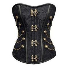 The Atomic Black Steel Boned Jacquard Weave Overbust Corset is a solid corset featuring a combination of beautiful black jacquard weave on the bodice with metal accents for a Vintage look. It has metal front clasp closures, five metal chain and button accents on each side and a heavy cord lace up back.