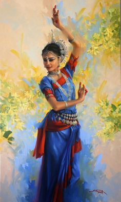 Painting by Joyce Birkenstock!Awesome! Indian Artwork, Indian Folk Art, Indian Art Paintings, Abstract Paintings, Dancing Drawings, Indian Classical Dance, Dance Paintings, Oil Paintings, Painting Of Girl