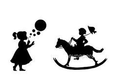 Meisje met bal en jongen op hobbelpaard