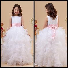 Princess White Jewel Neck Flower Girl Dresses Ruffles A-Line Satin And Organza Cheap Girl Dress for Wedding Party Gowns With Pink Bow Online with $31.42/Piece on Dress_beautiful's Store | DHgate.com
