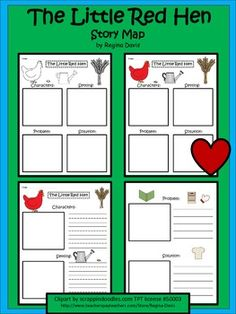 Here are 3 different versions of a story map for the folk tale, The Little Red Hen. I gave you the option of choosing the type of lines that would. Kindergarten Reading, Teaching Reading, Little Red Hen Story, Little Red Hen Activities, Talk 4 Writing, Back To School Worksheets, Speech And Language, Language Arts, Story Maps