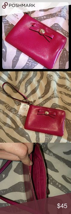 Nwt pink coach wristlet Gorgeous pink metallic coach wristlet. Perfect for a night out. Coach Bags Clutches & Wristlets