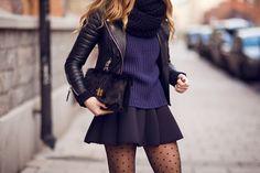skirt, black leather jacket