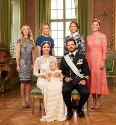 The Prince Couple with son Prince Alexander on the occasion of his christening. Princess Sofia's sisters, Sara Hellqvist and Lina Frejd, and Prince Carl Philip's sisters, Princess Madeleine and Crown Princess Victoria, make a beautiful show of sibling support and love.