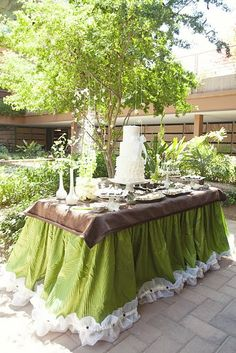 green and brown dessert table