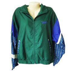 Reebok Vintage Women's Size L Large Green Blue Nylon Mesh Windbreaker Zip Jacket #Reebok #Windbreaker