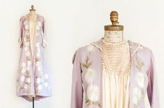 Antique Silk Hand Embroidered Lavender Beaded Evening Gown /
