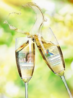 Make creative wedding ecard or love card, placing your photos as reflections in sparkling wine glasses. This champagne toast picture looks just adorable!