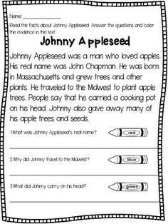 Johnny Appleseed - Reading Passage and ActivitiesThis resource contains a close reading passage about the historical figure Johnny Appleseed,a cut and paste activity on a True/ False chart, and a writing prompt.The close reading text asks the students to read the passage, answer 3 comprehension questions, and color/ highlight the evidence in the text that supports their answerYou might also like:Plants Close ReadingsThe Four Seasons Close ReadingsDr.