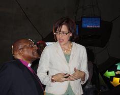 Maropeng marketing manager Lindsay Marshall takes Archbishop Emeritus Desmond Tutu through the interactive exhibition on July 31 Interactive Exhibition, Desmond Tutu, July 31, World Heritage Sites, Marketing, Fashion, Moda, Fasion, Fashion Illustrations