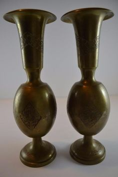 Vintage Pair of Solid Brass Vases Hand Made Marked Harilelas India 1325A