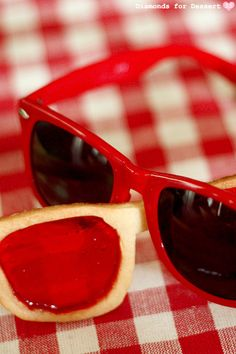 Stained Sunglasses Cookies, with cookie frames and candy lenses.