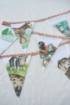 Turning Books into Buntings Baby Shower Bunting, Baby Shower Themes, Wooly Thyme, Best Banner, Christmas Bunting, Birthday Bunting, The Wooly, Childrens Books, Upcycle