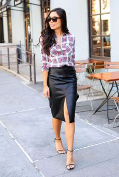 fall / winter - street style - street chic style - casual outfits - fall outfits - black leather pencil skirt + plaid shirt + black ankle strap heeled sandals + brown sunglasses