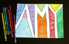 Doodle Names drawing activity for kids...Let's doodle...perfect activity while listen to read aloud stories on tape.