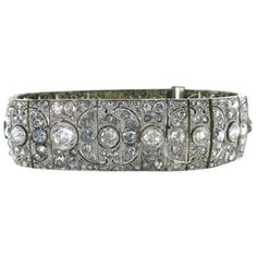Pre-owned Platinum Multiple Diamond Bracelet Art Deco Antique Vintage... (359.230 HRK) ❤ liked on Polyvore featuring jewelry, bracelets, accessories, silver diamond, pre owned jewelry, art deco diamond jewelry, platinum bangle, preowned jewelry and antique art deco jewelry