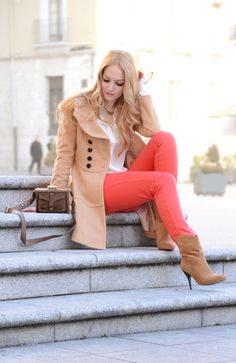Coral pants with boots