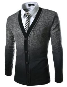 TheLees Men's Slim Fit 5 Button 2 Tone Gradation Knitted Cardigan