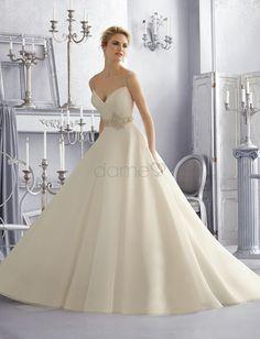 Halle A-Linie V-Ausschnitt Organza Satin aufgeblähtes volle länge Brautkleider