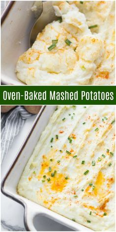 This recipe for creamy Oven Baked Mashed Potatoes is an easy and delicious make ahead side dish. Healthy Dessert Recipes, Healthy Dinner Recipes, Healthy Snacks, Vegetarian Recipes, Baked Mashed Potatoes, Mashed Potato Recipes, Best Side Dishes, Side Dish Recipes, Farmers Market