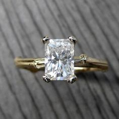 Radiant Emerald Moissanite Twig Engagement Ring, Kristin Coffin