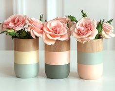 Set of 3 Painted Wooden Vases Home Decor Sring Easter