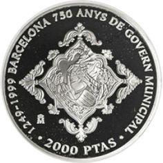 2000 Pesetas 1999 Gobierno Municipal de Barcelona. Sin estuche. Barcelona, Coins, World, Golden Roses, Silver Coins, Door Bells, Stamps, Rooms, Barcelona Spain