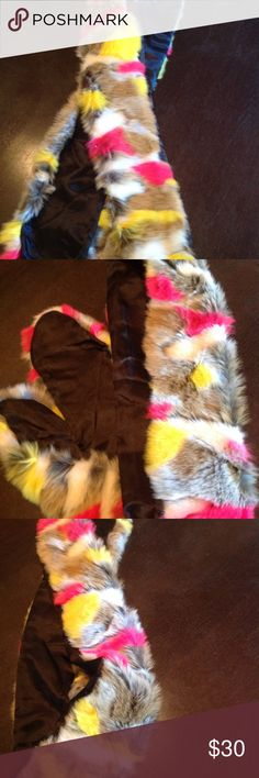 "🆕neon faux fur stole💕💕 New tag 70"" awesome!!! Accessories Scarves & Wraps"