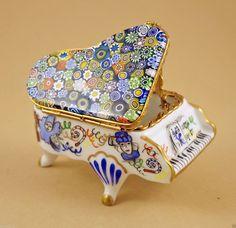 MASQUERADE PORCELAIN FRENCH LIMOGES BOX GRAND PIANO W/ MURANO MILLEFIORI TOP