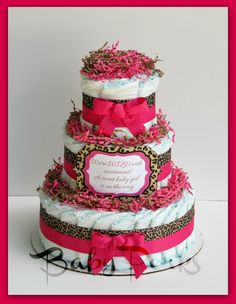 Cheetah And Pink Diaper Cake. Find This Pin And More On Baby Shower  Decorations ...