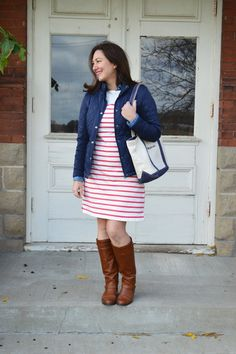 L.L.Bean fall outfit stripe dress and quilted jacket