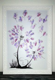 Die **Wedding Tree Pusteblume** eignet sich super als Alternative zum gewöhnlichen Hochzeitsgästebuch. Jeder Gast hinterlässt seinen farbigen Fingerabdruck als Blühte und schreibt seinen Namen...