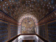 Ravenna, Italy, mosaics of the Chapel of Sant' Andrea Byzantine Art, Byzantine Mosaics, Ravenna Mosaics, Blue Mosaic, Mosaic Art, Ancient Mysteries, Sacred Art, Roman Empire, World Heritage Sites