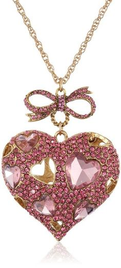 "Betsey Johnson ""Iconic Pinkalicious"" Crystal Heart Pendant Long Necklace"