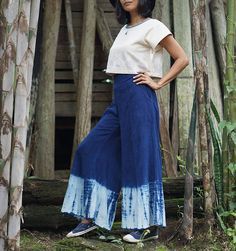 A personal favorite from my Etsy shop https://www.etsy.com/listing/532104286/flare-pants-indigo-pants-blue-long-pants