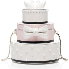 Kate Spade Wedding Belles Cake Clutch (5.255.590 IDR) ❤ liked on Polyvore featuring bags, handbags, clutches, white handbags, handbags purses, kate spade purses, kate spade and man bag