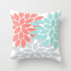 Pillow Cover Flower Burst Throw Pillow Zipper Double Sided Custom Coral Turquoise Gray Convert ANY Print TRM Design 16x16 18x18 20x20 26x26