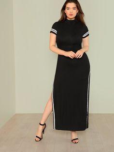 21f3029e447 Contrast Striped Slit Side Dress