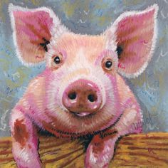 Pig Portrait - Framed Archival Print from an Original Pastel Drawing, Signed. $42.00, via Etsy.