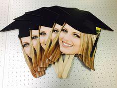 24 Big Head & 10 Pack of same 12 Face Fans Package Black Caps, Graduation Desserts, Graduation Ideas, College Graduation, Graduation Gifts, Face On A Stick, Grad Hat, Wedding Fans, Grad Parties