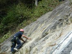 Rock Climbing in Rishikesh, near Camp Majestic in byasi. It's natural rock, we love that sure you will too.