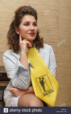 Download this stock image: Portrait of a girl with a tie Game over - J9BXAA from Alamy's library of millions of high resolution stock photos, illustrations and vectors.